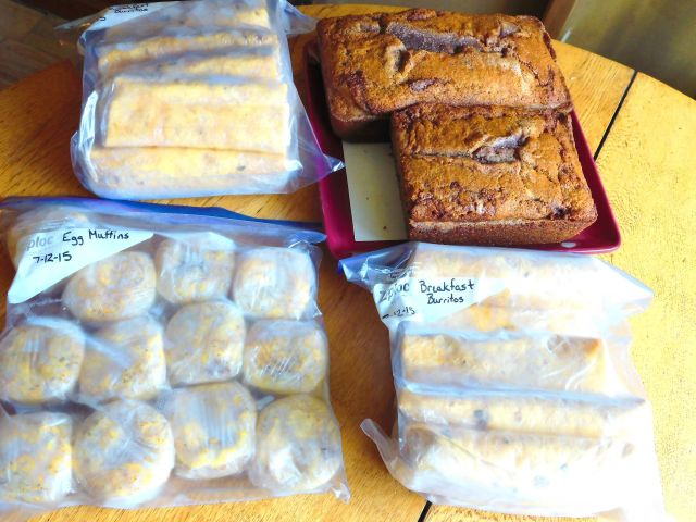 Breakfast burritos, sausage egg muffins and cinnamon bread!