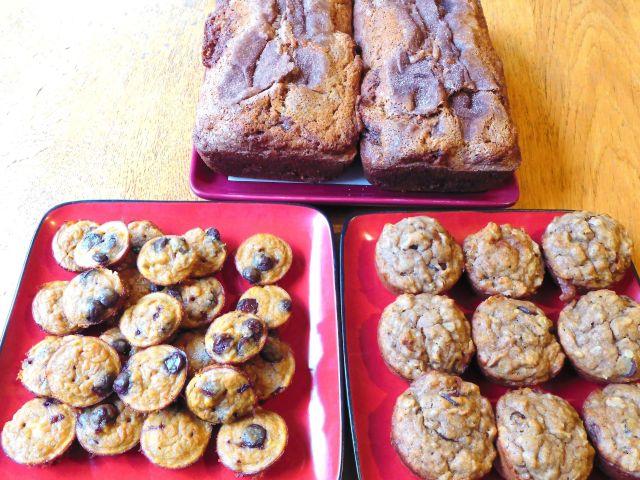 Cinnamon bread, sweet potato banana bites and peanut butter banana oat muffins.