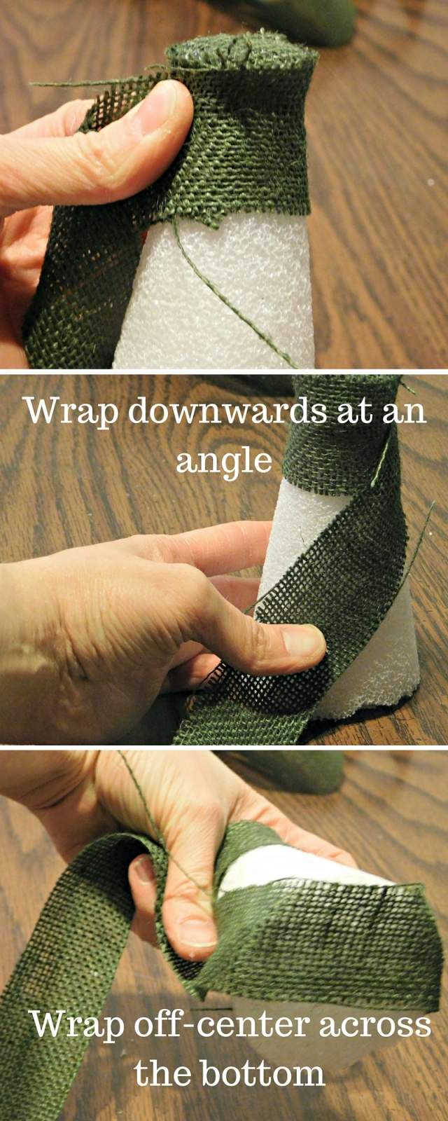 Wrap the burlap strip around the capped -tree top- (1)