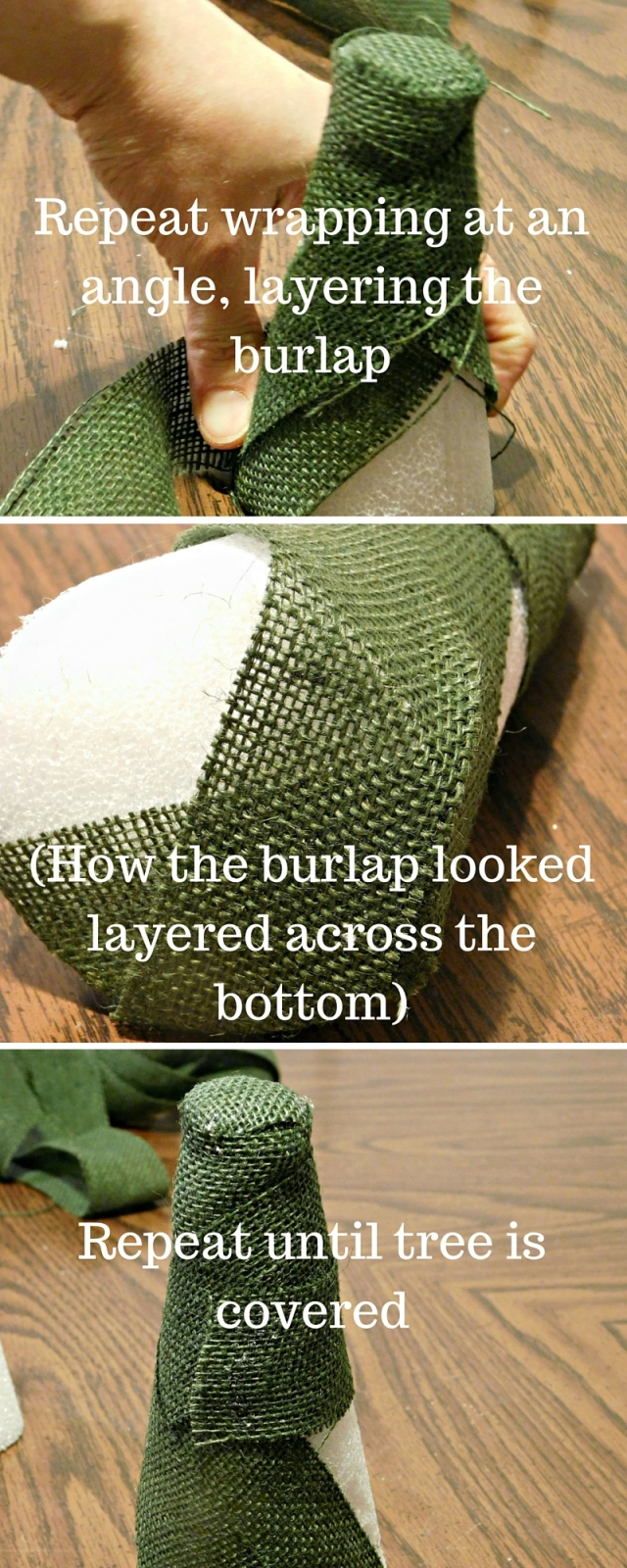 Wrap the burlap strip around the capped -tree top- (2)