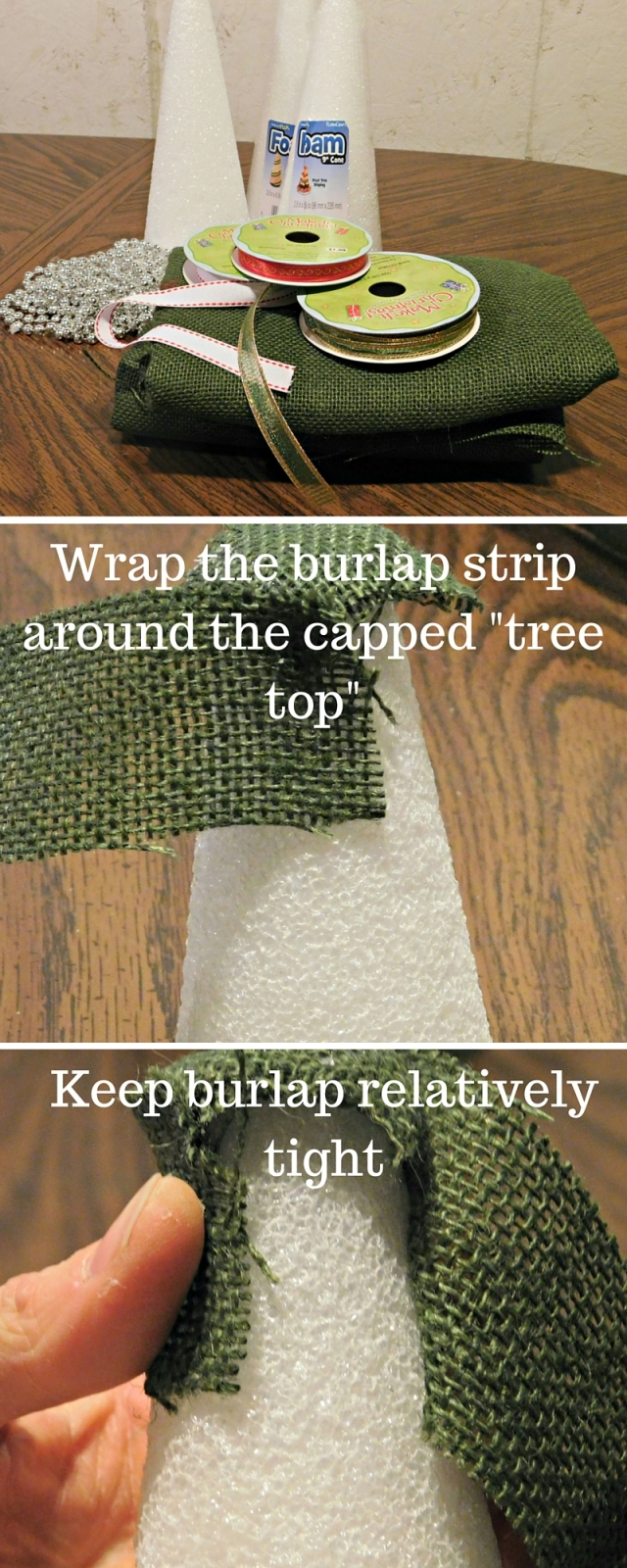 Wrap the burlap strip around the capped -tree top-