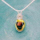 silver wrapped yellow and gold fused glass pendant