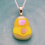 fused glass pendant yellow
