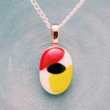 fused glass jewelry red black and yellow