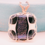 square glass fusion pendant with dichroic