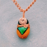 brown glass green dichroic copper wire wrapped