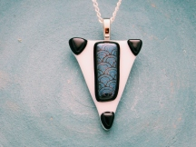 glass fusion pendant triangle black dichroic