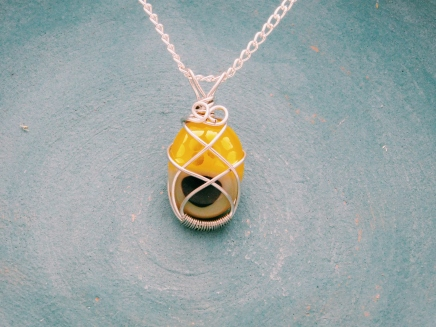 Yellow Glass fusion pendant wire wrapped